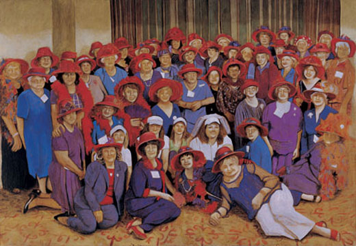 Red Hat Society, 2006, oil on canvas, 190 x 275,4 cm