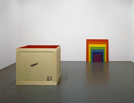 A Pot of Gold at the End of the Rainbow, 2008, Acrylic on wooden crates, 120 x 130 x 130 cm 30 x 40 x 40 cm