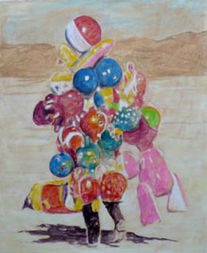 Balloon Man, 2006, acrylic on paper, 156 x 125 cm
