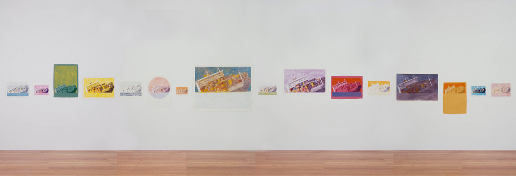 Sinking Line, 2009, acrylic on paper , (series of 16 paintings) 20,5 × 29,5 cm – 110,7 × 141 cm