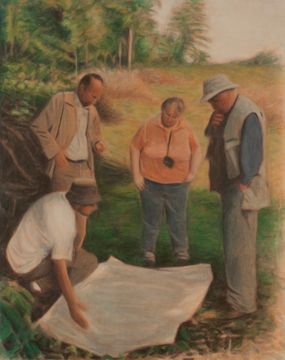 Four Figures with a Map, 2011, Oil on canvas, 150 x 120 cm