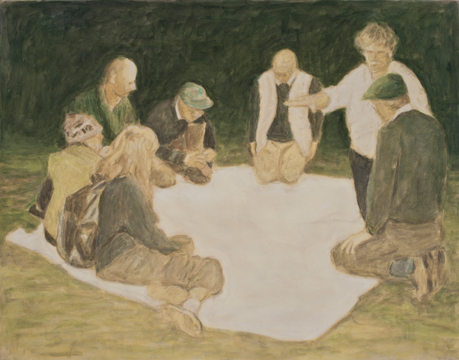 Seven Figures With a White Mantle, 2011, Oil on canvas, 140 x 180 cm